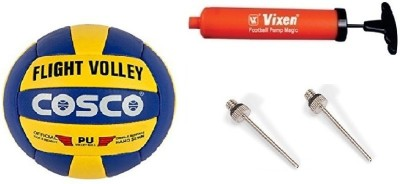 Cosco Combo of 3, 1Flight Volley, 1 Vixen Pump, And Needle. Volleyball - Size: 4(Pack of 3, Multicolor)