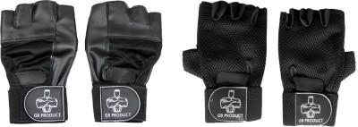 GB 2 Pcs Top Grade Gym & Fitness Gloves(Black)