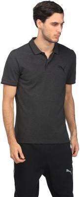 Puma Solid Men Polo Neck Grey T-Shirt at flipkart