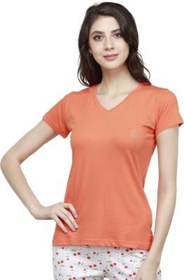 View Bongio Solid Women s V-neck Orange T-Shirt Price Online 640a34527