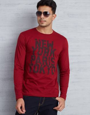 Metronaut Printed Men's Round Neck Red T-Shirt