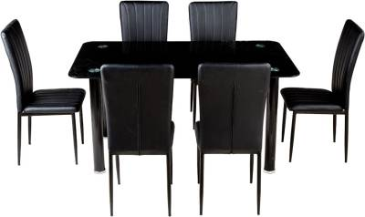 Woodness Wharton Glass 6 Seater Dining Set  (Finish Color - Black)