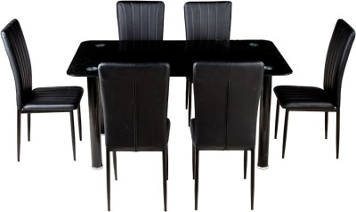 Woodness Glass 6 Seater Dining Set(Finish Color - Black)