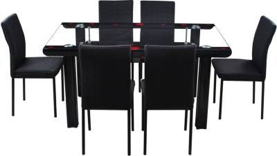 Woodness Milan Glass 6 Seater Dining Set  (Finish Color - Black)