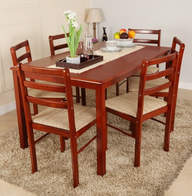 Woodness Solid Wood 6 Seater Dining Set(Finish Color - Mahogany)