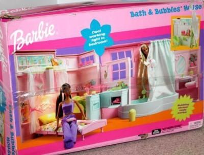 Barbie Bath & Bubbles House with Working Light & Shower(Multicolor)