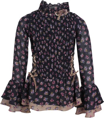 Cutecumber Baby Girls Party Poly Georgette Full Sleeve Top(Dark Blue, Pack of 1) at flipkart