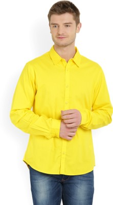 United Colors of Benetton Men's Solid Casual Yellow Shirt at flipkart