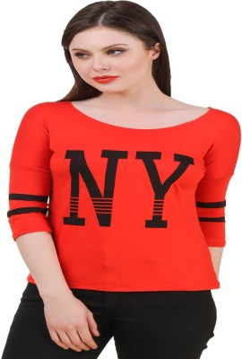 Komal Trading Co Casual 3/4th Sleeve Solid Women's Red Top