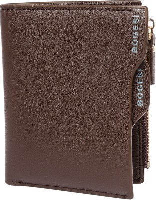 Bogesi Men Formal Brown Artificial Leather Wallet 9 Card Slots