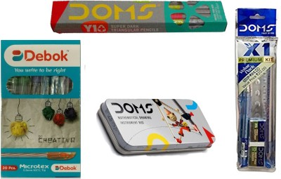 DOMS COMBO PACK OF -Y1+( 10 PENCILS )+X1 PREMIUM KIT + GEOMETRY BOX + DEBOK MICROTEX BALL PEN (20 PENS ) DRAWING SET  available at flipkart for Rs.219