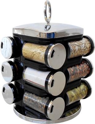 wcse 12-Jar Revolving Siver Black Spice Rack Masala Box 8 Piece Condiment Set(Plastic) at flipkart