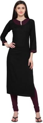 Shopping Queen Casual Solid Women's Kurti(Black)