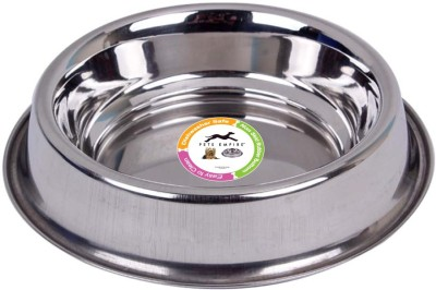 Pets Empire 1021ANT ROUND Stainless Steel Pet Bowl(450 ml Silver)