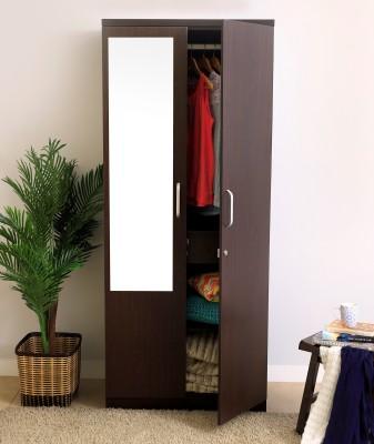 Spacewood Weave Engineered Wood 2 Door Wardrobe(Finish Color - Vermount, Mirror Included)