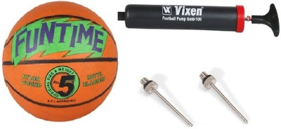Cosco Combo of 3, 1 Funtime Basketball Size-5, 1 Vixen Pump, And Needle Basketball -   Size: 5(Pack of 1, Orange & Green)