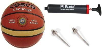 Cosco Combo of 3, Challenge Basketball Size-5, Vixen pump, And Needle Basketball -   Size: 5(Pack of 1, Orange)