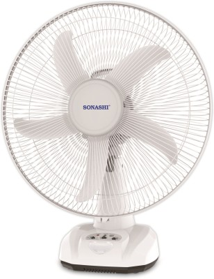 Sonashi 16 inches rechargeable AC / DC for Power cuts 4-6 Hours backup 5 Blade Table Fan(White)  available at flipkart for Rs.5150