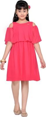 Hunny Bunny Girls Midi/Knee Length Casual Dress(Pink, Half Sleeve)