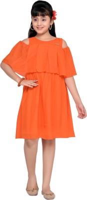 Hunny Bunny Girls Midi/Knee Length Casual Dress(Orange, Half Sleeve)