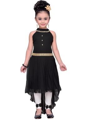 Adiva Girls Midi/Knee Length Party Dress(Black, Sleeveless) at flipkart