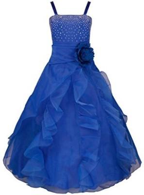 Fashiano Girls Maxi/Full Length Party Dress(Blue, Sleeveless)