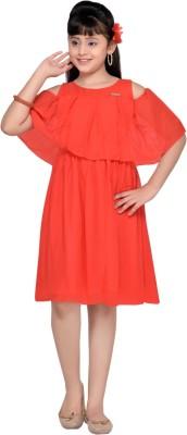 Hunny Bunny Girls Midi/Knee Length Casual Dress(Red, Half Sleeve)