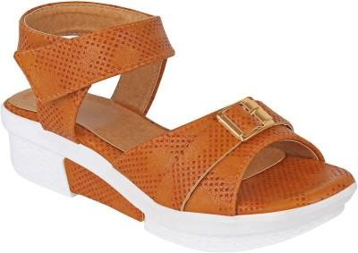 Glitzy Galz Girls Velcro Wedges(Brown)