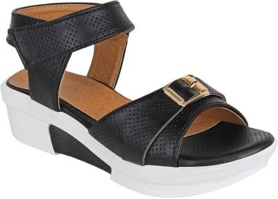 Glitzy Galz Girls Velcro Wedges(Black)
