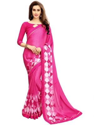 IndianEfashion Self Design, Embroidered Fashion Georgette, Chiffon Saree(Pink)