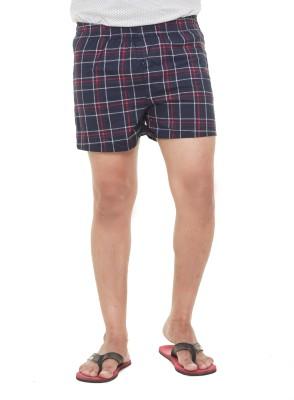 Old Khaki Checkered Men's Dark Blue Boxer Shorts