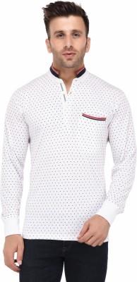 Vivid Bharti Printed Men's Mandarin Collar White T-Shirt