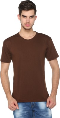 HARBOR N BAY Solid Men's Round Neck Brown T-Shirt  available at flipkart for Rs.199