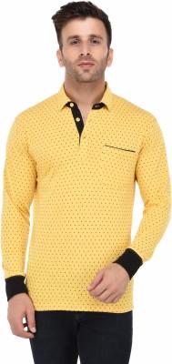 Vivid Bharti Printed Men Polo Neck Yellow T-Shirt