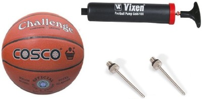Cosco Combo of 3, Challenge Basketball Size-7, Vixen pump, And Needle Basketball -   Size: 7(Pack of 1, Orange)