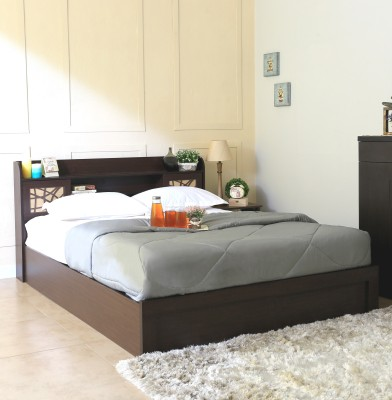 Spacewood Mayflower Engineered Wood Queen Bed With Storage(Finish Color -  Brown)