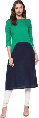 IVES Casual Solid Women Kurti(Green)