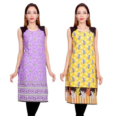 Krapal Casual Printed Women Kurti(Pack of 2, Yellow, Blue)