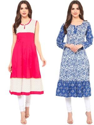 Krapal Casual Printed Women Kurti(Pack of 2, Blue, Pink)