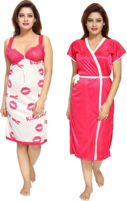 Shopping World Women Nighty with Robe(Multicolor)