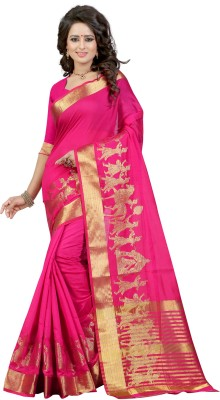The Fashion Outlets Self Design, Plain Fashion Cotton, Silk Saree(Pink)