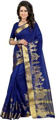 The Fashion Outlets Self Design, Plain Kanjivaram Cotton, Silk Saree(Blue)