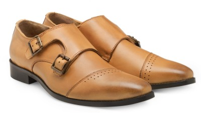 RAMZEE Genuine Leather Monk Strap For Men(Tan)