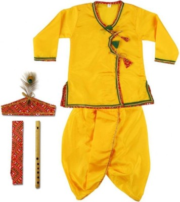 Riya Fashion Boys Dhoti & Kurta Set Boys Festive & Party Ethnic Jacket, Kurta and Legging Set(Yellow Pack of 01) Flipkart