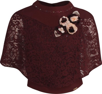 Cutecumber Baby Girls Party Lace Crop Top(Maroon, Pack of 1) at flipkart