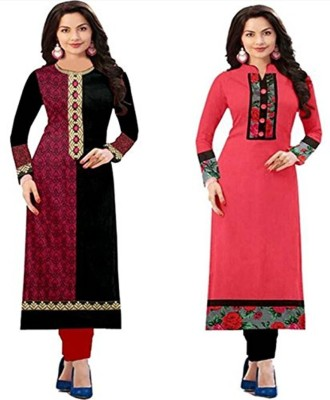 Royalty Retail And Export Festive & Party Self Design Women Kurti(Pack of 2, Pink, Black)