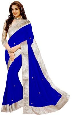 Prabhas Embellished Fashion Chiffon Saree(Blue)  available at flipkart for Rs.495