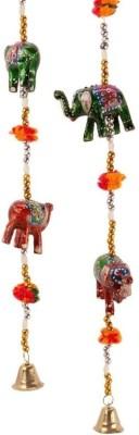 Pik Oops Pik Oops 'Rajasthani Elephant' Paper Mache Door Hanging Set (Set of 2) Showpiece  -  10 cm(Plastic, Multicolor)  available at flipkart for Rs.229