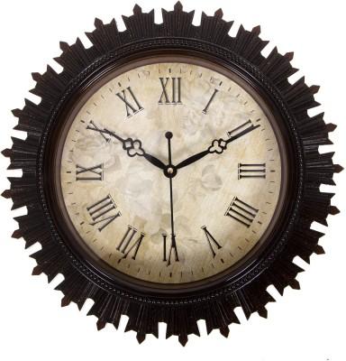 Urban Monk Creations Analog 32 cm X 32 cm Wall Clock(Brown, With Glass) at flipkart