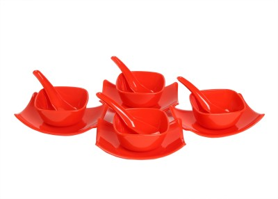 Richcraft Souper Square Soup Set 12 Pcs  Red  Plastic Serving Bowl Red, Pack of 12 Richcraft Bowls